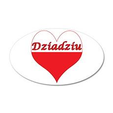 Dziadziu Polish Heart 22x14 Oval Wall Peel
