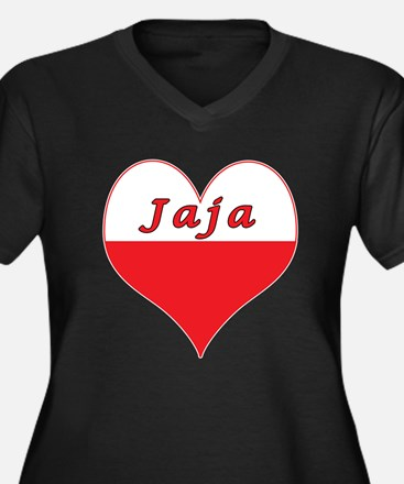 Jaja Polish Heart Women's Plus Size V-Neck Dark T-