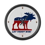 Bull Moose Let Teddy Win Clock - LARGE