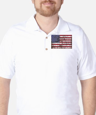 Dirty American flag Golf Shirt
