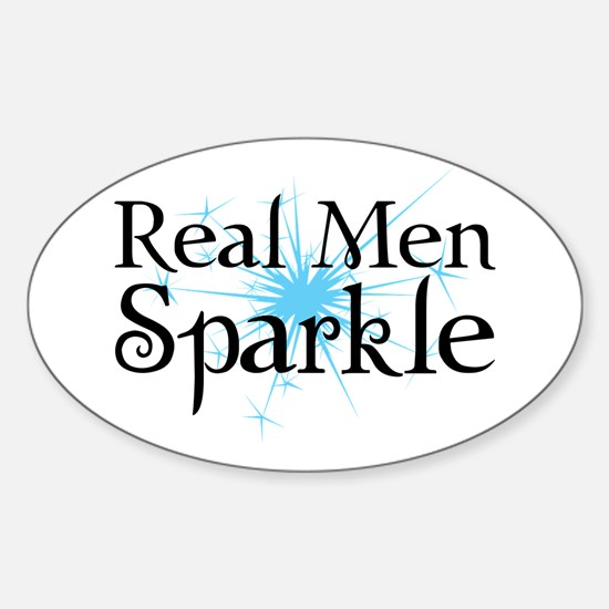 Real Men Sparkle Sticker (Oval)