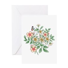 Apple Blossom and Daisy floral Greeting Card