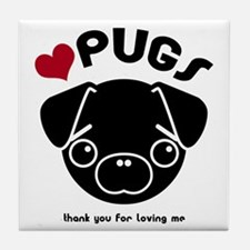 BLACK PUG Tile Coaster