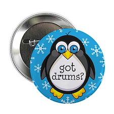 """Drums Music Penguin 2.25"""" Button"""