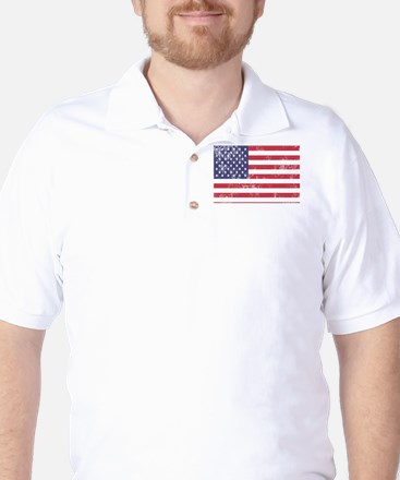 Faded American Flag Golf Shirt