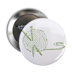 """Green Outline Yarn 2.25"""" Button (10 pack)"""