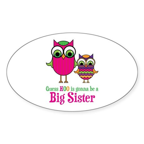 Guess Hoo Sister to be Sticker (Oval 10 pk)