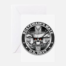 USN Boatswains Mate BM Skull Greeting Card