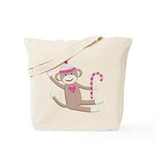 Christmas Sock Monkey Tote Bag