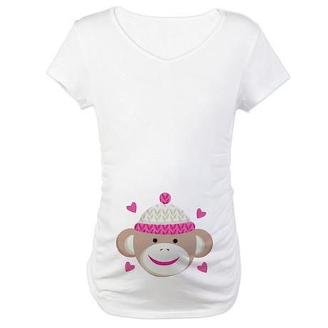 Sock Monkey Cute Maternity T-Shirt