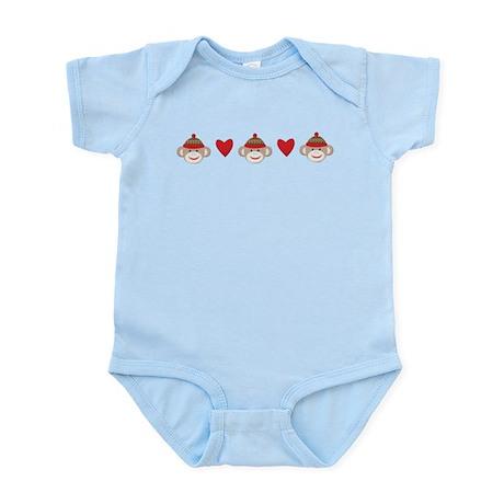 Sock Monkey Hearts Infant Bodysuit