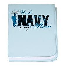 Uncle Hero3 - Navy baby blanket