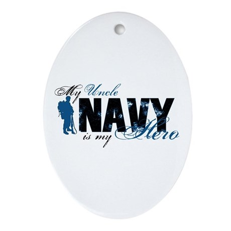 Uncle Hero3 - Navy Ornament (Oval)