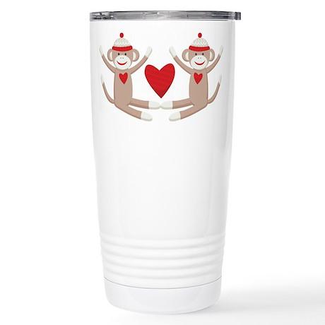 Couples Sock Monkey Stainless Steel Travel Mug