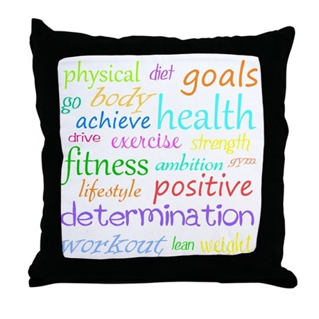 Fitness Collage Throw Pillow