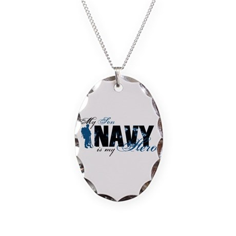 Son Hero3 - Navy Necklace Oval Charm