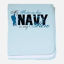 Sis-in-law Hero3 - Navy baby blanket