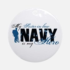Sis-in-law Hero3 - Navy Ornament (Round)
