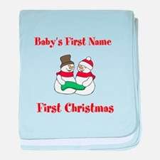 Personalized First Christmas baby blanket