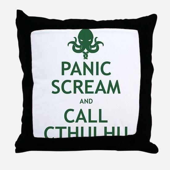 Panic Scream and Call Cthulhu Throw Pillow