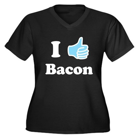 I Like Bacon Women's Plus Size V-Neck Dark T-Shirt