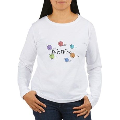 Knit Chick w/yarn around Women's Long Sleeve T-Shi