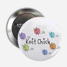 "Knit Chick w/yarn around 2.25"" Button"