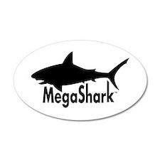 MegaShark logo 38.5 x 24.5 Oval Wall Peel