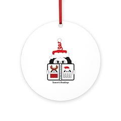 Reading Santa Ornament (Round)