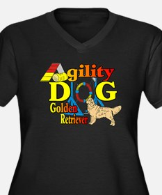 Golden Retriever Agility Women's Plus Size V-Neck