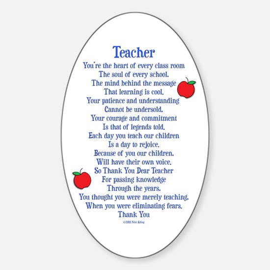 Teacher Thank You Sticker (Oval)