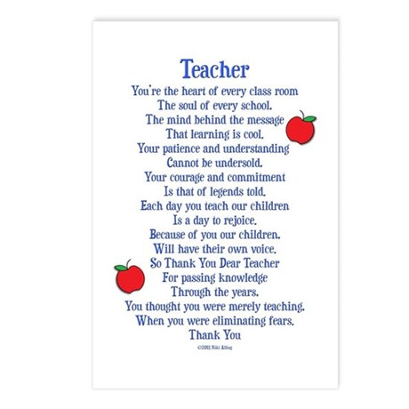 Teacher Thank You Postcards (Package of 8)