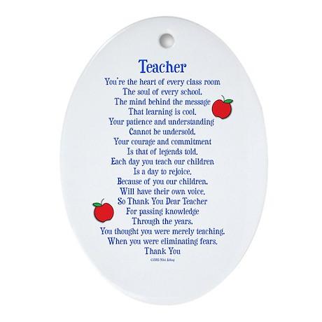 Teacher Thank You Ornament (Oval)