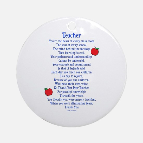 Teacher Thank You Ornament (Round)