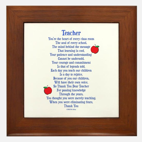 Teacher Thank You Framed Tile