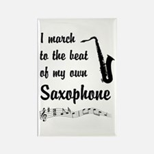 March to the Beat: Saxophone Rectangle Magnet