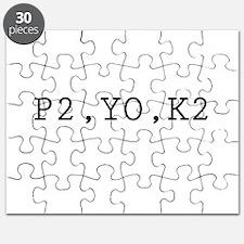 Knitting Code (P2, YO, K2) Puzzle