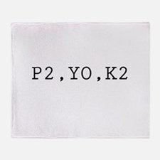 Knitting Code (P2, YO, K2) Throw Blanket