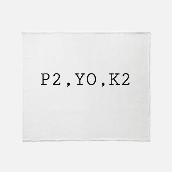 Knitting Code (P2, YO, K2) Throw Blanket