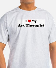 I Love Art Therapist Ash Grey T-Shirt