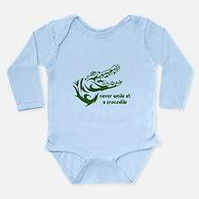 Never Smile (green) Long Sleeve Infant Bodysuit
