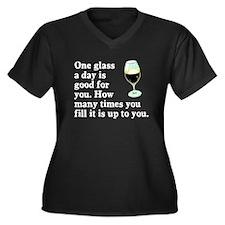 A Glass A Day Women's Plus Size V-Neck Dark T-Shir