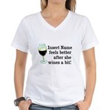 Wine a bit Womens V-Neck T-shirts