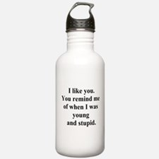 young and stupid Water Bottle