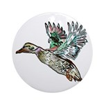 Art Nouveau Mallard Duck Ornament (Round)