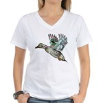 Art Nouveau Mallard Duck Women's V-Neck T-Shirt