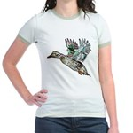 Art Nouveau Mallard Duck Jr. Ringer T-Shirt