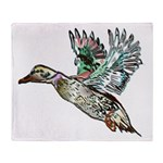 Art Nouveau Mallard Duck Throw Blanket