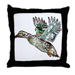Art Nouveau Mallard Duck Throw Pillow