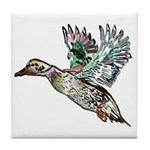 Art Nouveau Mallard Duck Tile Coaster